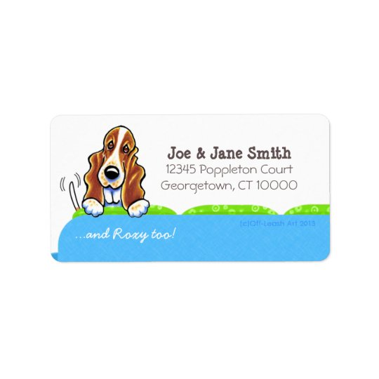 Basset Hound Blue Couch Pet Name Personalised Label