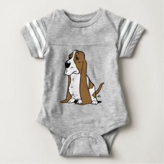 Basset hound cartoon baby bodysuit