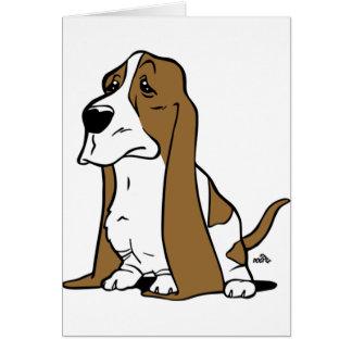 Basset hound cartoon card