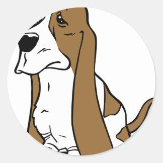 Basset hound cartoon classic round sticker