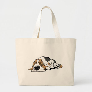 Basset Hound cartoon dog Large Tote Bag