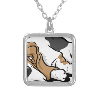 Basset Hound cartoon dog Silver Plated Necklace