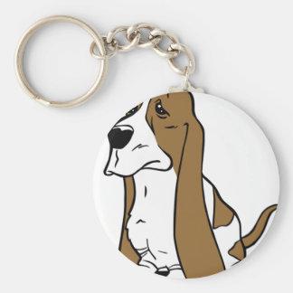 Basset hound cartoon key ring