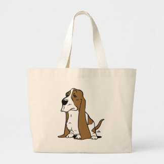 Basset hound cartoon large tote bag