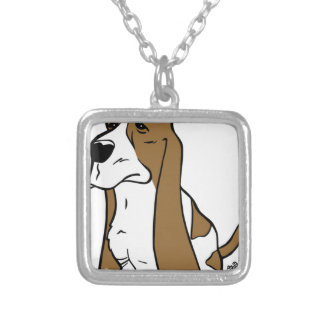 Basset hound cartoon silver plated necklace