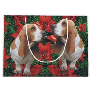 Basset Hound Christmas Poinsettias Large Gift Bag
