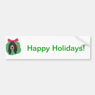 Basset Hound Christmas Wreath Bumper Sticker