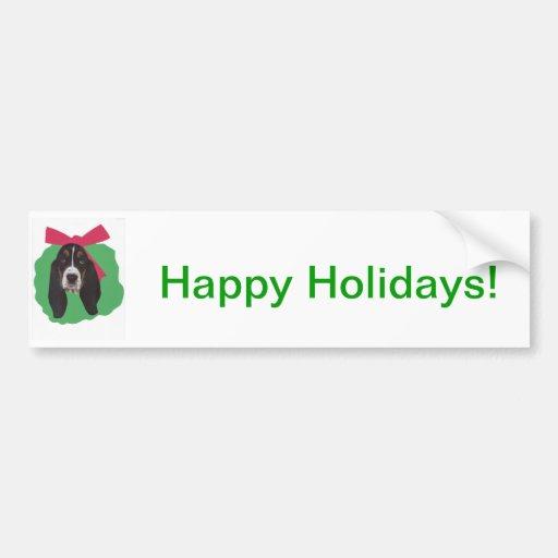 Basset Hound Christmas Wreath Bumper Stickers