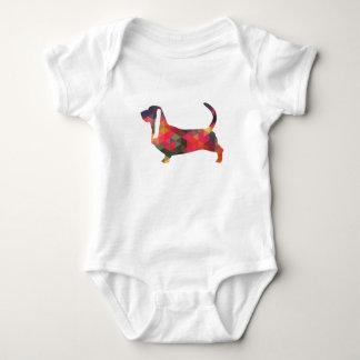 Basset Hound Colorful Geometric Pattern Silhouette Baby Bodysuit