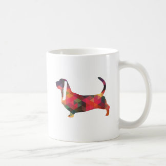 Basset Hound Colorful Geometric Pattern Silhouette Coffee Mug