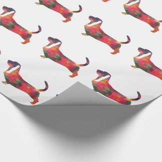 Basset Hound Colorful Geometric Pattern Silhouette Wrapping Paper