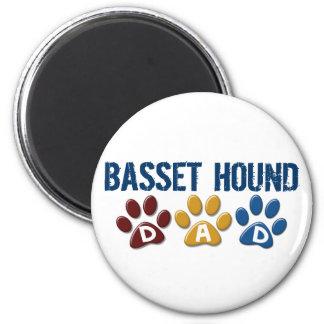 BASSET HOUND DAD Paw Print 6 Cm Round Magnet