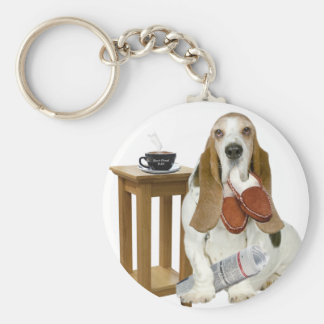 Basset Hound Daddy's Helper Key Ring