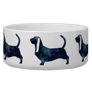 Basset Hound Dog Black Watercolor Silhouette