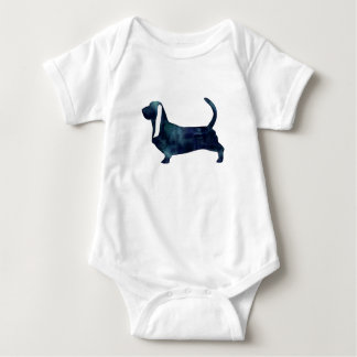 Basset Hound Dog Black Watercolor Silhouette Baby Bodysuit
