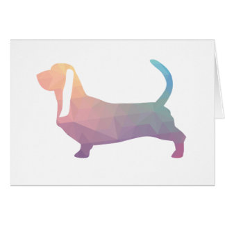 Basset Hound Dog Colorful Geometric Silhouette Card