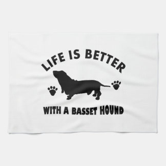 basset hound dog design tea towel