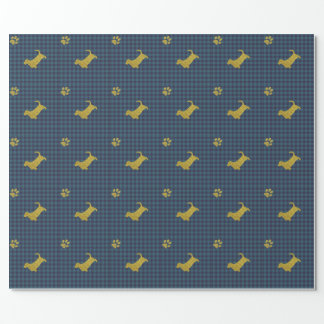 Basset Hound Dog Paw Blue Gift Wrapping paper