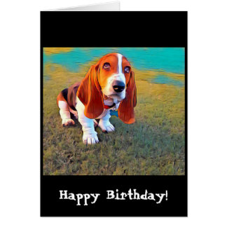 Basset Hound Dog Puppy Whimsical Artistic Photo Card