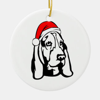 Basset Hound Dog with Christmas Santa Hat Ceramic Ornament