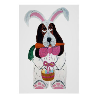 Basset Hound Easter Bunny Poster