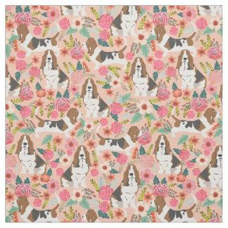 Basset hound florals fabric - cute dog fabric