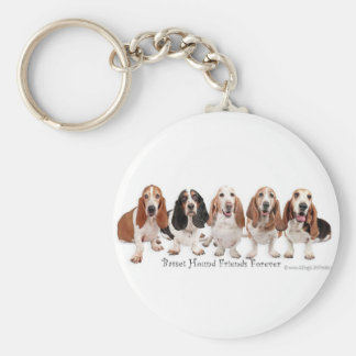 Basset Hound Friends Forever Basic Round Button Key Ring