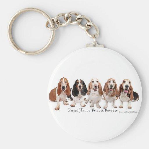 Basset Hound Friends Forever Keychains