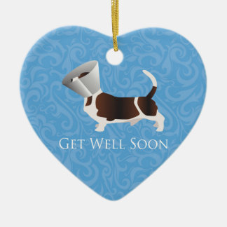 Basset Hound Get Well Soon Design Ceramic Heart Decoration