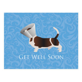 Basset Hound Get Well Soon Design Postcard