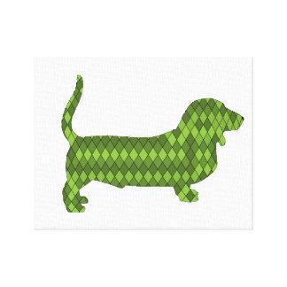 basset hound green canvas print