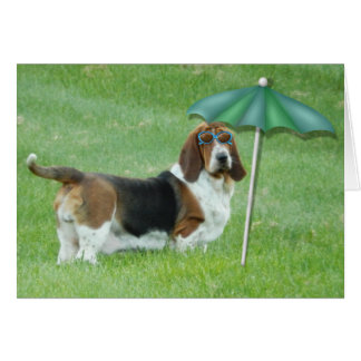 "Basset Hound Greeting card ""Summer Dreaming"""