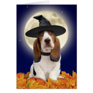Basset Hound Halloween Card