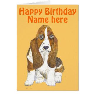 Basset Hound Happy Birthday, add name front Card