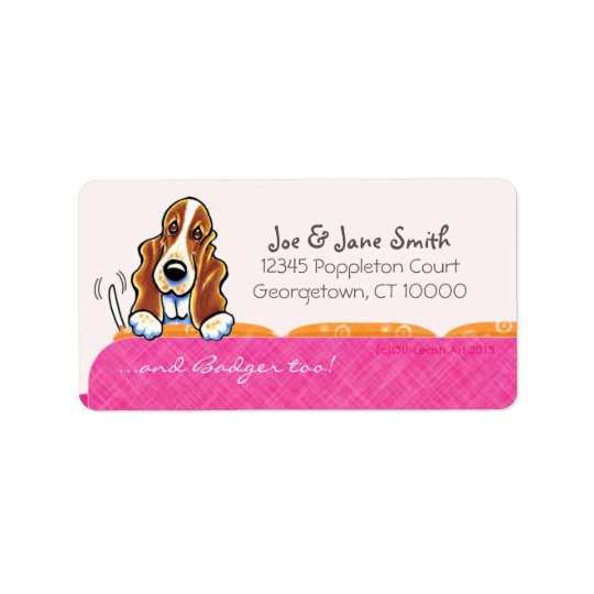 Basset Hound Happy Couch Dog Girly Pink Label