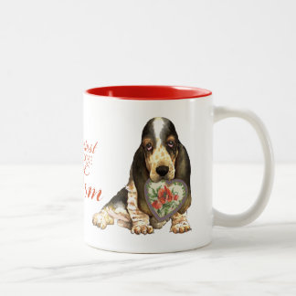 Basset Hound Heart Mom Two-Tone Coffee Mug