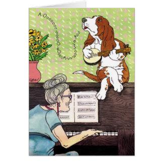 Basset Hound - Howling Birthday Card