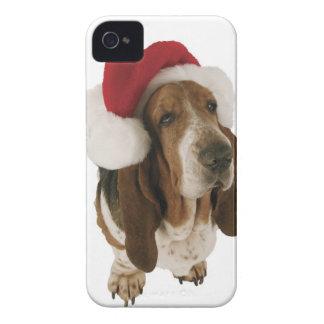Basset hound in Santa hat iPhone 4 Case-Mate Cases