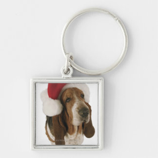 Basset hound in Santa hat Silver-Colored Square Key Ring