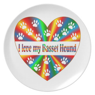 Basset Hound Love Dinner Plate