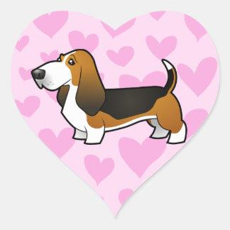 Basset Hound Love Heart Sticker