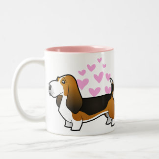 Basset Hound Love Two-Tone Coffee Mug