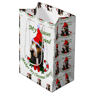 Basset Hound Lovers Christmas Medium Gift Bag