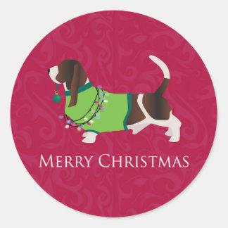 Basset Hound Merry Christmas Design Classic Round Sticker