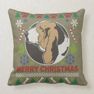 Basset Hound Merry Christmas Ugly Sweater Cushion