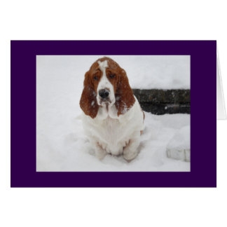 Basset Hound missing you greeting card. Card