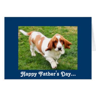 Basset Hound on funny Father's Day greeting card