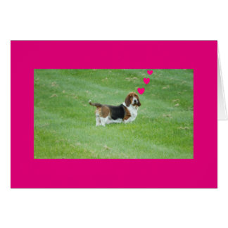 """Basset Hound on """"Missing You"""" greeting card"""