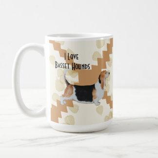 Basset Hound on Tan Leaves Mugs
