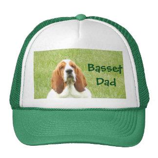 """Basset Hound on trucker's hat with """"Basset Dad"""""""